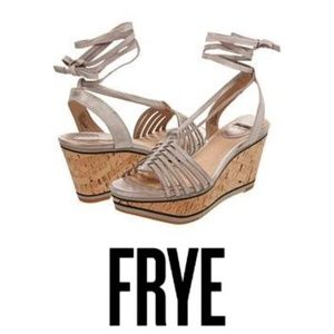 Frye Carlie Strappy Wedge Sandals in Natural